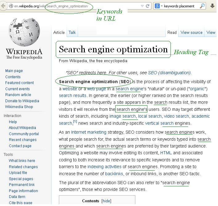 wiki example of seo